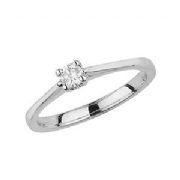 Platinum 0.1ct Solitaire Diamond Ring Four Claw Webbed Tulip style mount